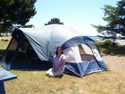 """Julie Tackett's tent at the campground near Pelican Bay State Prison. The tent, she notes, is """"larger than TWO cells in the SHU."""""""