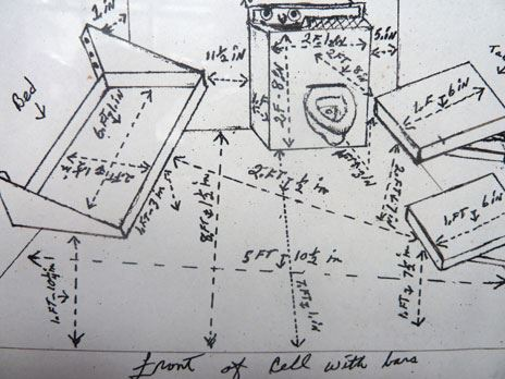 Herman Wallace's drawing of his sparse cell, complete with measurements; the total dimensions are 5 feet 10½ inches by 10 feet 1½ inches.