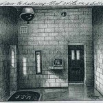 Drawing of remote underground cell (also known as the Silverstein Suite) at Leavenworth in Kansas, by Thomas Silverstein