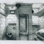 Drawing of solitary cell at the U.S. Penitentiary Administrative Maximum (ADX) in Colorado, by Thomas Silverstein
