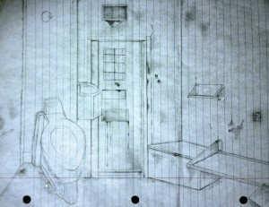 Drawing: The Close Management Cell, by Daniel McKafee, held in solitary confinement at Florida State Prison (Source: Concrete Cage)