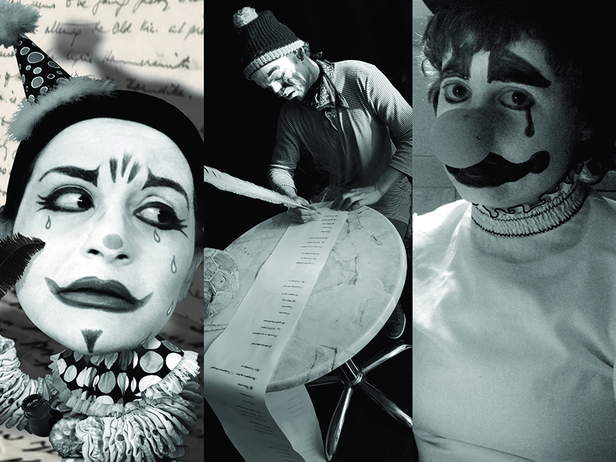 LOVESICK CLOWN WITH FEATHER PEN—Photos by Lisa Barcy, Harry Bos and Stephanie Barber