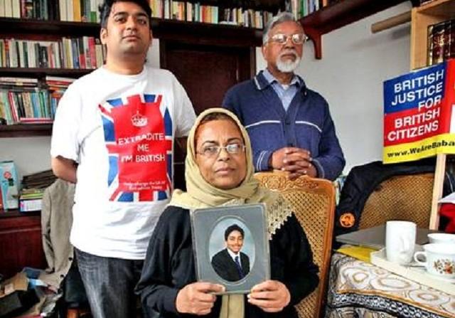 Talha Ahsan's family in their London home.