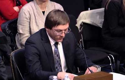 Damon Thibodeaux, who spent 15 years in solitary confinement on Louisiana's death row, testifies at the Senate Judiciary Subcommittee hearing on February 25.