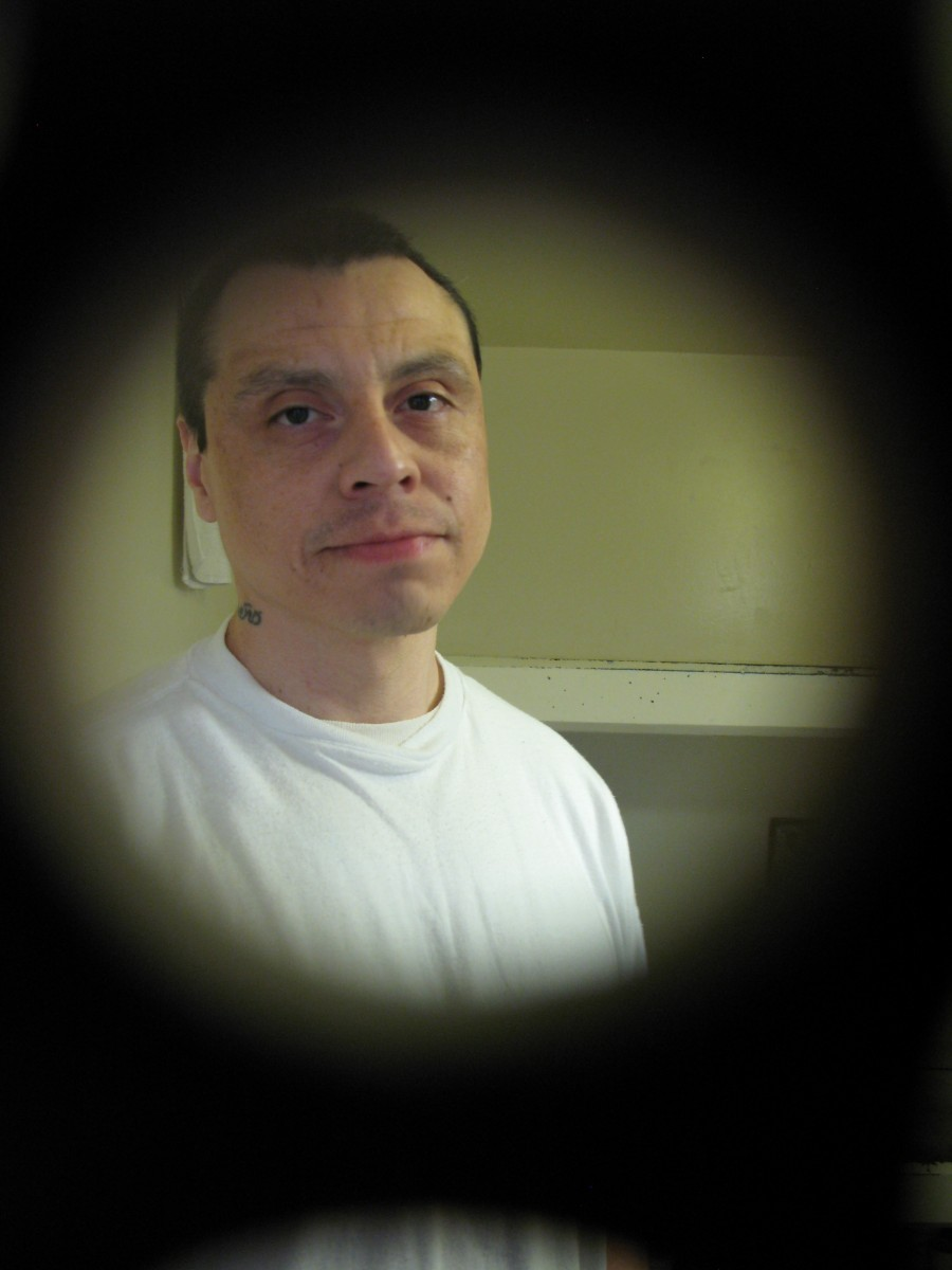 PBSP - Robert Luca inside his SHU prison cell at Pelican Bay State Prison by Nancy Mullan
