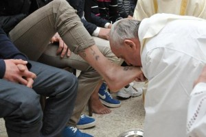 Pope Francis washes the feet of youth in a juvenile detention center in March 2013.