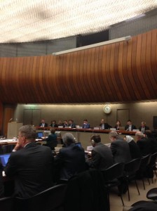 Members of the UN Committee on Torture question a U.S. delegation at a hearing in Geneva last week.