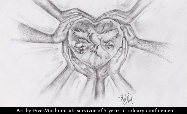 Holiday Card - Lifelines to Solitary 2015 - Art by Five Mualimm-ak, survivor of 5 years in solitary confinement.