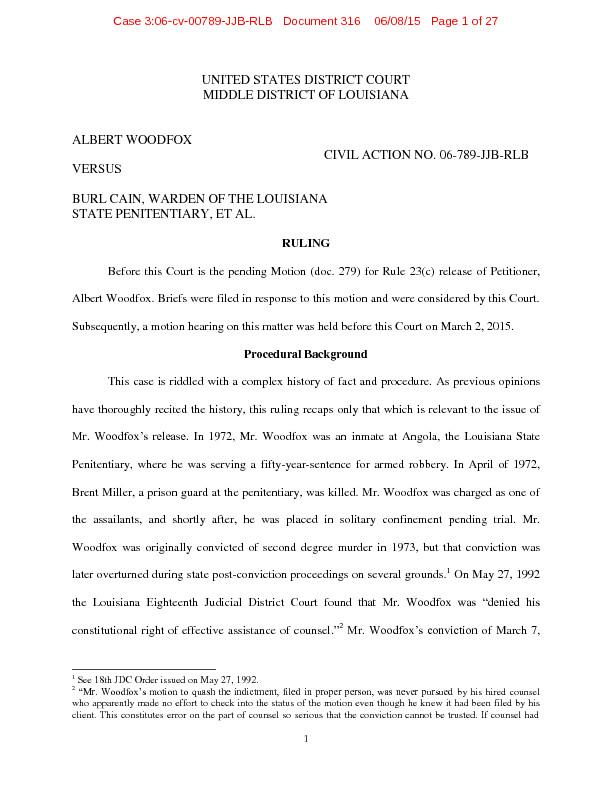 Federal Judge Orders Angola 3's Albert Woodfox Released