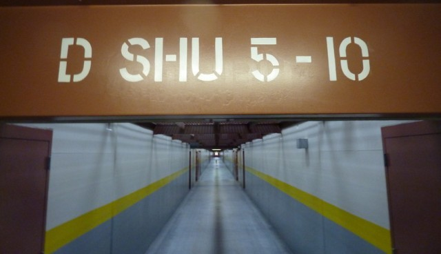 A corridor in the Pelican Bay SHU, where the hunger strikes began. (Photo: Michael Montgomery/KQED)