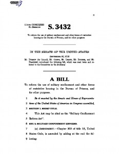 "S.3432, also known as ""The Solitary Confinement Reform Act"" Full Text"