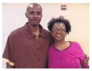Carrington Keys and his mother, Shandre Delaney, during a prison visit.