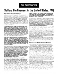 thumbnail of Solitary Confinement FAQ 2015