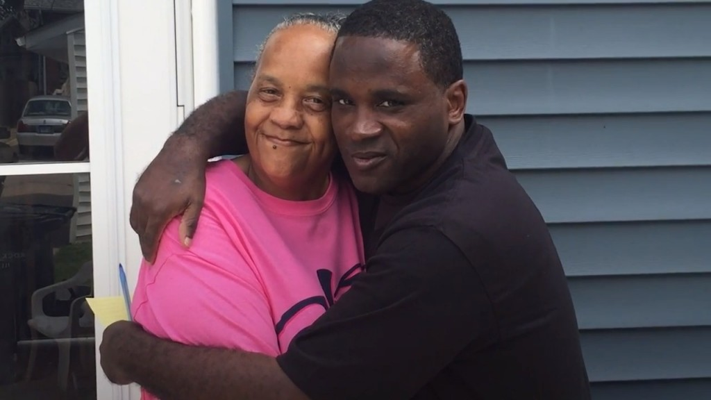 Anthony Gay at home with his mother, Shirley Gay, in a still from a video made following his release by Monty Davis with Beth Hundsdorfer and George Pawlaczyk of the Belleville News-Democrat, who first reported on Gay's story a decade ago.