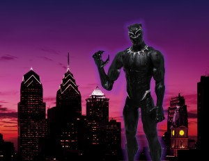 "Steven created this image for Yafis ""Boo Rock"" held in Fayette prison in Pennsylvania. Boo Rock requested to see ""a photograph of the superhero Black Panther with the Philadelphia skyline behind him or the street sign of the block I lived on behind him (65th St + Greenway Ave)."""