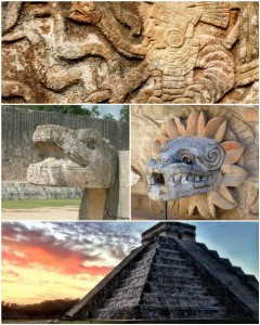 "Susan Donovan created this collage for Miguel, who is held in a California prison. Miguel asked to see ""the pyramids of Chichén Itzá, in Southern Mexico, and art sculptures on or around the pyramids."""