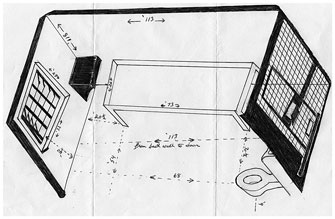 Herman Wallace's drawing of his solitary confinement cell. Image from The House That Herman Built, an art project created by Wallace and Jackie Summell.