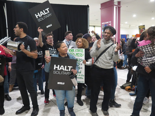 Demonstrators chant and dance in support of the HALT Solitary Act. Photo: Katie Rose Quandt