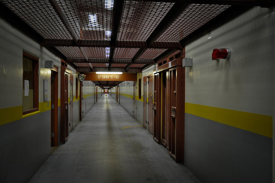 Corridor at Pelican Bay State Prison, by Julie Small, KPCC