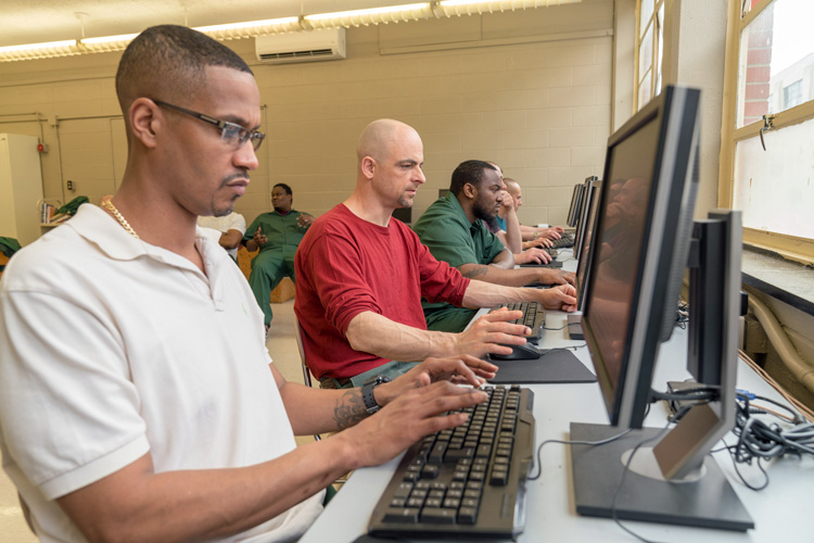 Computer Lab at Auburn Correctional Facility, 2019. Photo courtesy of Cornell Prison Education Program.